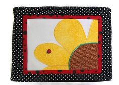 2 Slice Toaster Cover - Sunflower with Ladybug by PatsysPatchwork on Etsy