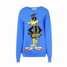 Moschino Daffy Duck Womens Long Sleeve Sweater Blue