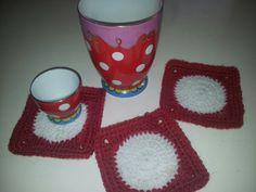 Coasters, polkadots, red, diy