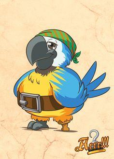 Pappagallo portafortuna realizzato per il gioco di carte piratesco ARRR!!! Lucky Charm Parrot for the pirate card game ARRR!!!