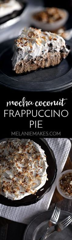 This Mocha Coconut Frappuccino Pie uses just seven ingredients and takes less than 10 minutes to create. Coffee ice cream, coconut pudding, whipped topping and my decadently delicious Mocha Hot Fudge Sauce are swirled together before being poured into an Oreo crust. More hot fudge, whipped topping and toasted coconut complete this frosty treat that is guaranteed to help you beat the summer heat!