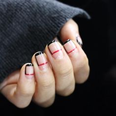 COOL Red + Black Minimalist Negative Space Nails | nail art