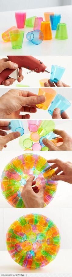 Made by gluing coloured shot glasses together