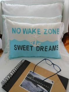 No Wake Zone. Sweet Dreams Pillow. Nautical. Anchor. Turquoise Grey and White. Nautical Decor for  Coastal Living by searchnrescue2 on Etsy, $58.00