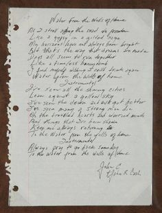 """Handwritten lyrics by Johnny Cash to the song """"Water from the Wells of Home."""""""