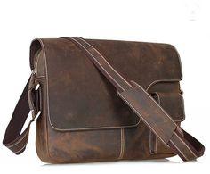 Men's Crazy Horse Leather Satchel Cowhide Bag by guatiantian, $126.99