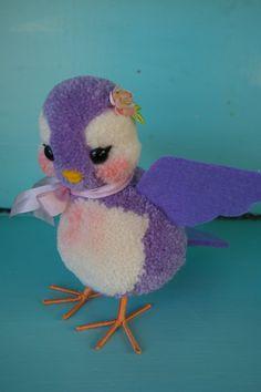 Cute Little Lavender Baby Pom Pom Bird by MykoBocekStudios