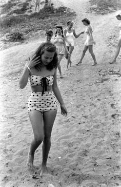 Newport beach, California, 1947. LOVE her swimsuit. I'm not usually one for bikinis but give me that any day of the week.