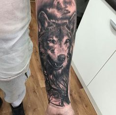 Get lost in these beautiful tattoos Wolf Tattoo Forearm, Wolf Tattoo Back, Small Wolf Tattoo, Lion Tattoo Sleeves, Wolf Tattoo Sleeve, Sleeve Tattoos, Wolf Tattoos Men, Animal Tattoos, Fox Tattoos