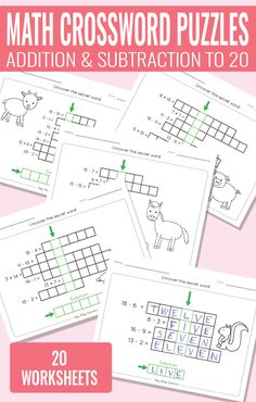 math-crossword-puzzles-addition-and-subtraction-to-20-worksheets-for-kids