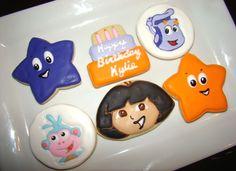Dora the Explorer cookies by Kiwi's Kookies