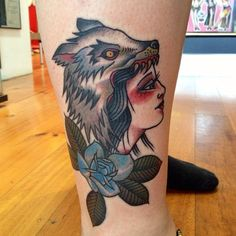 Wolf And Woman Tattoo Image
