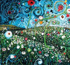 Field of Bright Spots, 36 x 36, oil and acrylic http://starlamichelle.com/
