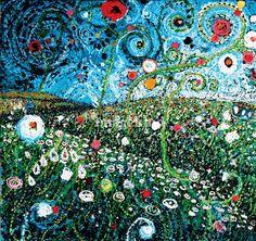 Field of Bright Spots, 36 x 36, oil and acrylic http://starlamichelle.com/