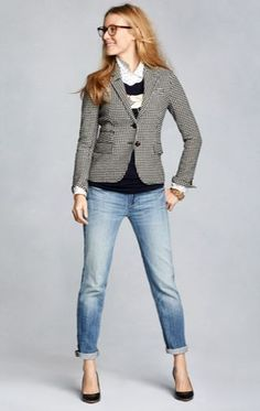 Casual work environment? This outfit is perfect for you! Pair this houndstooth blazer from J.Crew|crewcuts with denim for a chic look.