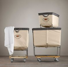 Laundry Cart Rectangular Collection, Natural - Traditional - Hampers - by Restoration Hardware Laundry Shoot, Laundry Cart, Laundry Baskets, Traditional Hampers, Plastic Bins, Container Organization, Industrial House, Industrial Style, Restoration Hardware