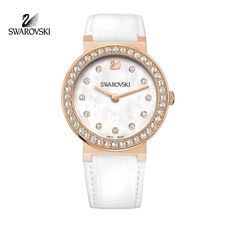 Swarovski Clear Crystal CITRA Sphere Rose Gold Watch White Leather #1185830