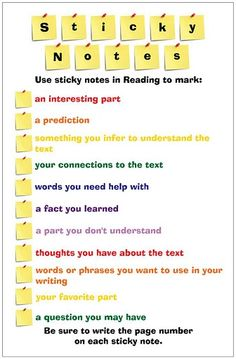Sticky Notes for independent reading.