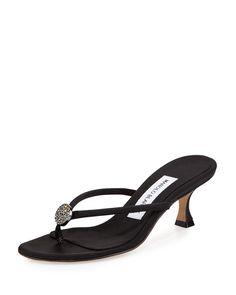 Dole Embellished Thong Sandal, Black