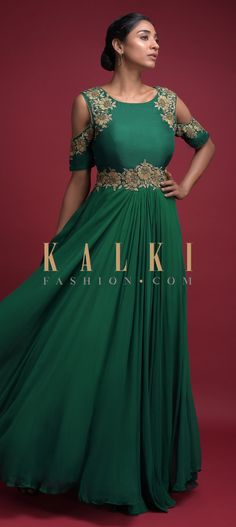 Bottle green indowestern A line gown in georgette with silk blend bodice. Adorned with zari and zardozi embroidered floral pattern. Anarkali, Lehenga, Shoulder Sleeve, Cold Shoulder, Indowestern Gowns, A Line Gown, Indian Wear, Salwar Kameez, Indian Outfits