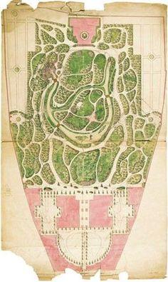 Plan for converting the garden of the Liechtenstein Garden Palace at Rossau into an English landscape garden, by Philipp Prohaska, c. 1801. -- Ink on paper, colored (© Liechtenstein. The Princely Collections, Vaduz–Vienna).