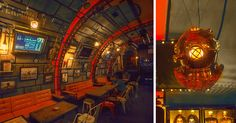 A year ago, 6th-Sense Interiors came up with the idea of a themed pub meant to faithfully render the interior of a submarine for one of their clients. The vault shaped ceiling as well as the wagon shaped space divided in two different rooms seemed perfect for this kind of design. Travel Guide, Steampunk Costume, Industrial, Space, Adventure, Bar, Interior, Room, Jules Verne