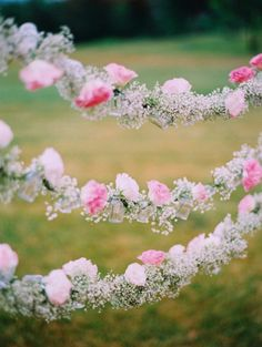 Garland of Baby's Breath & Carnations: Pretty bridal shower or wedding decor