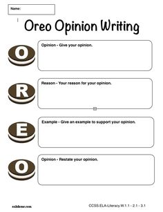 iPad Graphic Organizer - OREO Opinion Writing - Plain (iPad Pages Template): http://oakdome.com/k5/lesson-plans/iPad-lessons/ipad-common-core-graphic-organizer-oreo-opinion-writing.php
