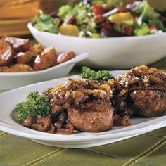 For my sister ~Dinner for Two This menu features the all-time popular Baby Blue Salad and Beef Fillets with Cognac-Onion Sauce, reduces their serving size and creates a truly memorable dish Date Night Dinners, Date Night Recipes, Dinner Recipes, Entree Recipes, Sunday Dinners, Sauce Recipes, Meat Recipes, Cooking Recipes, Skillet Recipes
