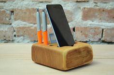 Wooden organizer iPhone 6 station Handmade wood by WoodRestart