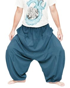 Balloon Super Roomy Unisex Bloomers Low Crotch Harem Pants (Teal) Yoga Trousers, Harem Pants, Hippie Outfits, Chic Outfits, African Dashiki Shirt, Funky Pants, Hippie Pants, Fashion Pants, Unisex