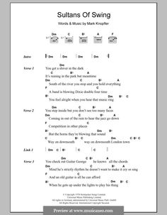 Sultans of Swing (Dire Straits): Lyrics and chords by Mark Knopfler