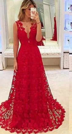 Red prom dress,lace prom dresses,A line prom dresses,long #prom #promdress #dress #eveningdress #evening #fashion #love #shopping #art #dress #women #mermaid #SEXY #SexyGirl #PromDresses