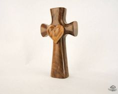 Figured Claro Walnut with Plum Heart Bible Cross®