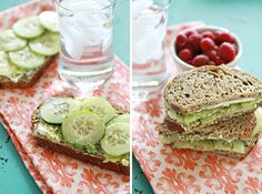 Use cucumber, avocado and cream cheese to make this sandwich.