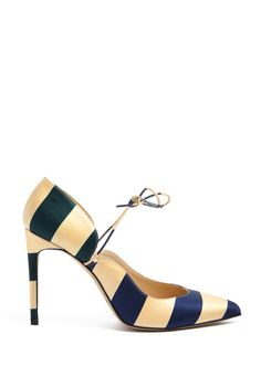 Carine Striped Satin Shoe by Bionda Castana