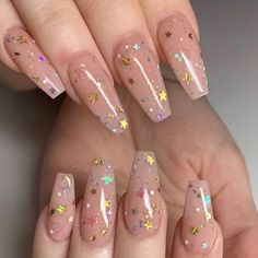 Cute Acrylic Nail Designs, Best Acrylic Nails, Acrylic Nail Art, Gold Nail Art, Aycrlic Nails, Glitter Nails, Coffin Nails, Nail Nail, Nail Polishes