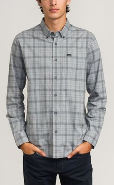 That'll Do Plaid Long Sleeve Shirt | RVCA - Black/Monument - Large