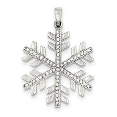 Sterling Silver & CZ Polished Snowflake Pendant