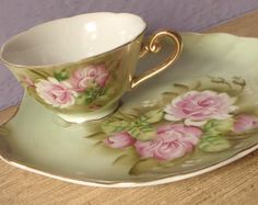 Antique Lefton china green heritage tea cup and snack plate, hand painted tea cup, Japanese tea cup, pink roses tea cup set, pink and green