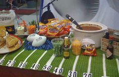 DIY a football field tablecloth.