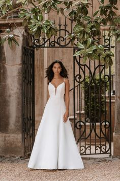 9862 by Allure Bridals satin fabric shines in a classic chic A-line Silhouette V Neck Wedding Dress, Classic Wedding Dress, Wedding Dress Shopping, Bridal Wedding Dresses, Wedding Dress Styles, Designer Wedding Dresses, Bridal Style, Bridesmaid Dresses, Formal Wedding