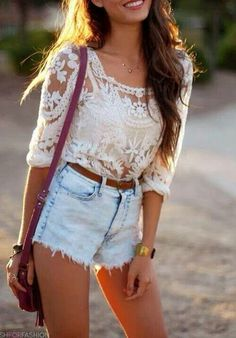 Love this style Cut Off, Denim Shorts, Skirts, Tops, Style, Fashion, Crochet Top, Jean Shorts, Swag