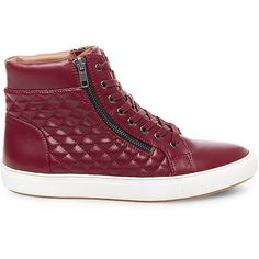 Steve Madden Men's Quilted Sneakers ($90) ❤ liked on Polyvore featuring men's fashion, men's shoes, men's sneakers, red, steve-madden shoes, rubber sole shoes, synthetic shoes, red sneakers and laced shoes