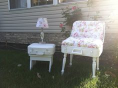 Vintage Suitcase Chair with matching  Lamp by VintageChicBtq,