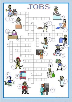 Crosswords - jobs - English ESL Worksheets for distance learning and physical classrooms English Teaching Materials, Teaching English Grammar, English Worksheets For Kids, English Activities, School Worksheets, English Vocabulary, Kids Crossword Puzzles, Word Puzzles For Kids, English Lessons