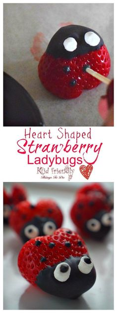 Heart shaped Chocolate Covered Strawberry Ladybugs for a fun food treat on Valentine's Day, Spring, Summer, Fairy Garden Parties or any day! Easy, Fun and delicious. Valentine Treats, Holiday Treats, Valentine Cupcakes, Heart Cupcakes, Valentines Food, Pink Cupcakes, Lady Bug, Cake Pops, Heart Shaped Chocolate
