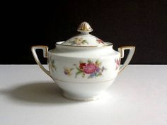 Mid Century Noritake Covered Sugar Bowl, Phyllis Pattern #318, White with Floral Motif & Gold Trim by GentlyKept on Etsy