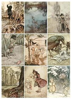 Printable Vintage Peter Pan Digital Collage Sheets Set 35
