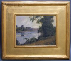 William Jurian Kaula (American, The River Bank Landscape Art, Landscape Paintings, Acrilic Paintings, River Bank, Sea Art, Arts And Crafts Movement, Gold Leaf, Painting Frames, Installation Art
